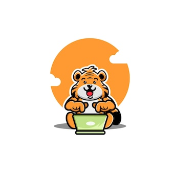 Illustration de dessin animé d'ordinateur portable mignon tigre d'exploitation