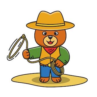 Illustration de dessin animé de l'ours cowboy