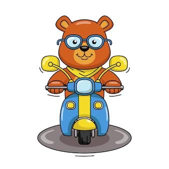Illustration de dessin animé d'un ours mignon chevauchant une moto