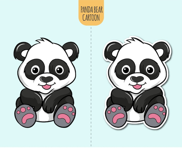 Illustration de dessin animé d'ours panda dessiné à la main avec option de conception d'autocollant