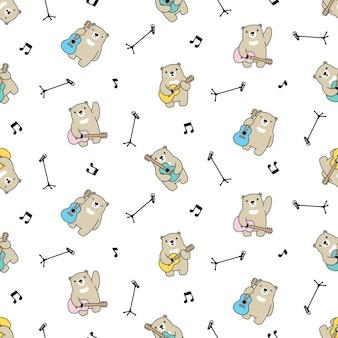 Illustration de dessin animé ours polaire modèle sans couture guitare teddy