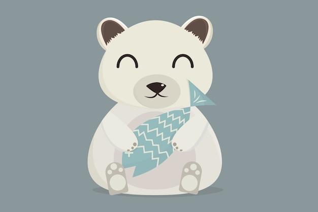 Illustration dessin animé l'ours tient du poisson frais