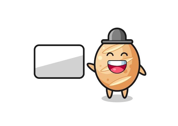 Illustration de dessin animé de pain français faisant une présentation, design mignon