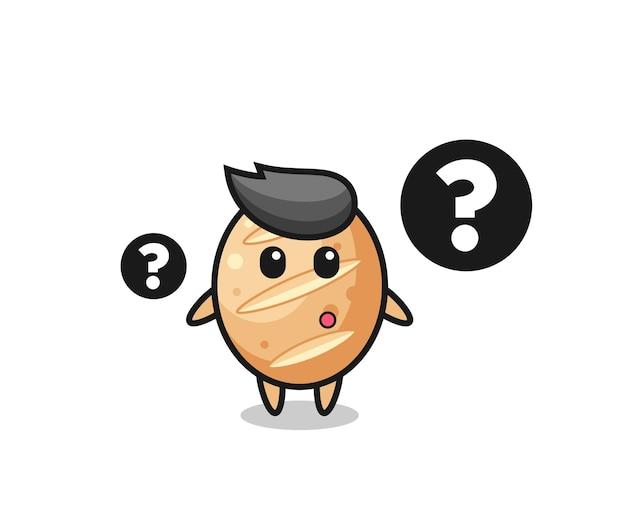 Illustration de dessin animé de pain français avec le point d'interrogation, design mignon