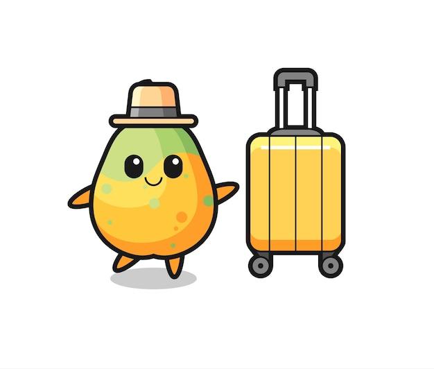 Illustration de dessin animé de papaye avec bagages en vacances, design de style mignon pour t-shirt, autocollant, élément de logo