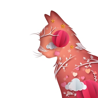 Illustration de dessin animé papier chat. montgolfière coeur