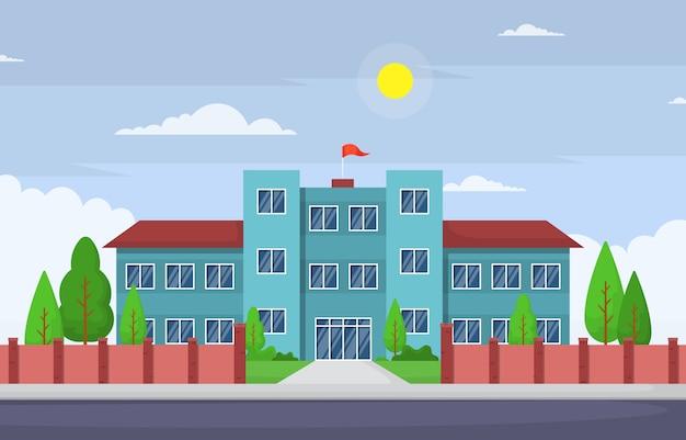 Illustration de dessin animé de paysage extérieur de rue de bâtiment d'éducation scolaire