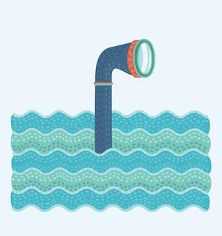 Illustration de dessin animé de périscope en métal dans les vagues au-dessus de l'eau.