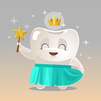 Illustration de dessin animé de personnage de fée des dents souriant heureux