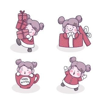 Illustration de dessin animé de personnage de petite fille
