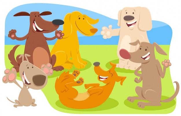 Illustration de dessin animé de personnages animaux chiens