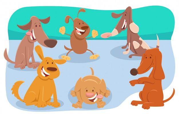Illustration de dessin animé de personnages de chiens et de chiots