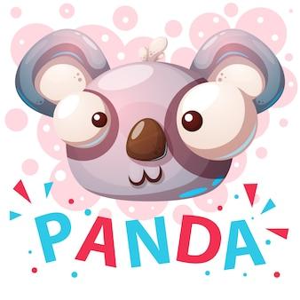 Illustration de dessin animé de personnages de panda mignon.