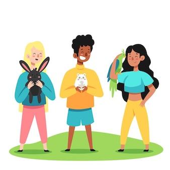 Illustration de dessin animé de personnes avec des animaux domestiques
