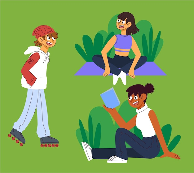 Illustration de dessin animé de personnes faisant des activités de plein air