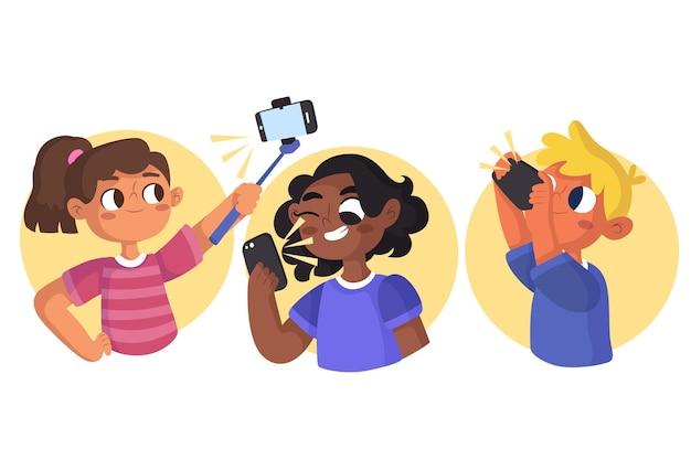 Illustration de dessin animé de personnes prenant des photos avec un smartphone