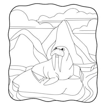 Illustration de dessin animé le phoque est sur le livre ou la page de glace pour les enfants en noir et blanc