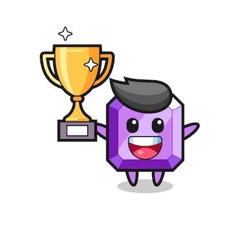 L'illustration de dessin animé de la pierre précieuse violette est heureuse de tenir le trophée d'or, un design de style mignon pour un t-shirt, un autocollant, un élément de logo