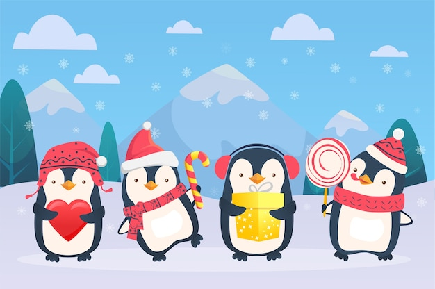 Illustration de dessin animé de pingouins de noël