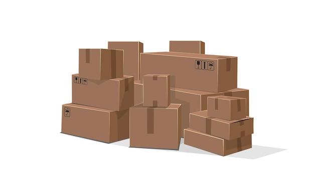 Illustration de dessin animé plat boîtes en carton