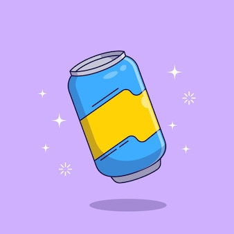 Illustration de dessin animé plat de canette de soda.
