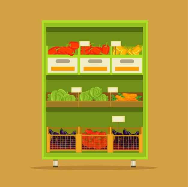 Illustration de dessin animé plat de marché de légumes