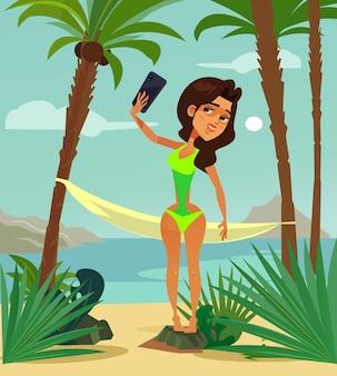 Illustration de dessin animé plat de voyage de villégiature de vacances