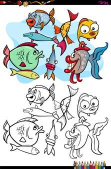 Illustration de dessin animé de poisson coloring book