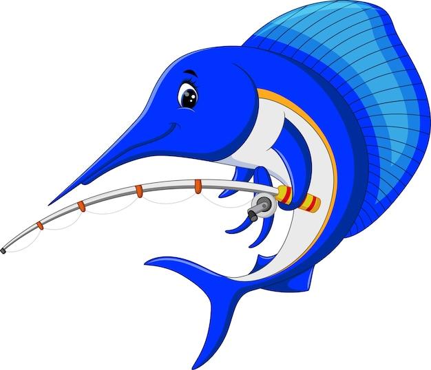 Illustration de dessin animé poisson marlin avec canne à pêche