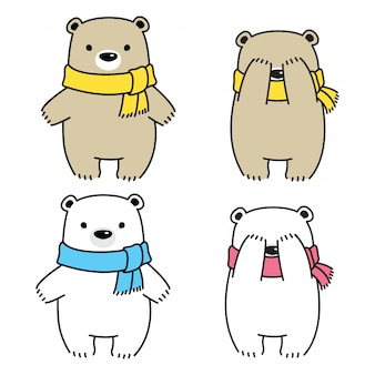 Illustration de dessin animé polaire ours