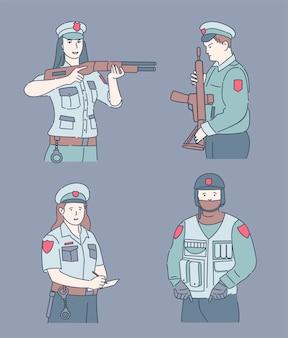 Illustration de dessin animé de policiers. des agents de sécurité détiennent des armes et infligent des amendes.
