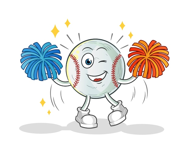 Illustration de dessin animé de pom-pom girl de baseball