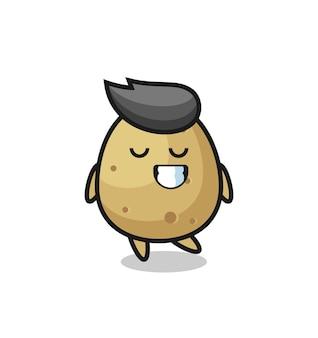 Illustration de dessin animé de pomme de terre avec une expression timide, design de style mignon pour t-shirt, autocollant, élément de logo