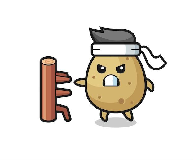 Illustration de dessin animé de pomme de terre en tant que combattant de karaté, design de style mignon pour t-shirt, autocollant, élément de logo