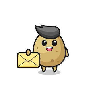 Illustration de dessin animé de pomme de terre tenant une lettre jaune, design de style mignon pour t-shirt, autocollant, élément de logo