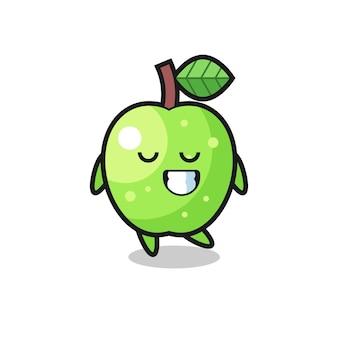 Illustration de dessin animé de pomme verte avec une expression timide, design de style mignon pour t-shirt, autocollant, élément de logo
