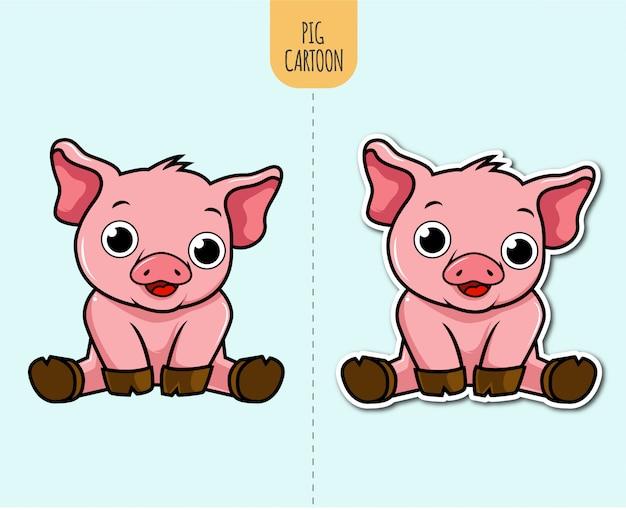 Illustration de dessin animé de porc dessiné à la main avec option de conception d'autocollant