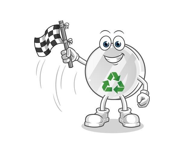 Illustration de dessin animé de porte-drapeau de finition signe de recyclage
