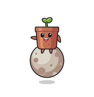 Illustration de dessin animé de pot de plante assis sur la lune, design de style mignon pour t-shirt, autocollant, élément de logo