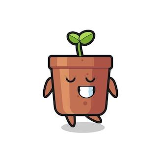 Illustration de dessin animé de pot de plante avec une expression timide, design de style mignon pour t-shirt, autocollant, élément de logo