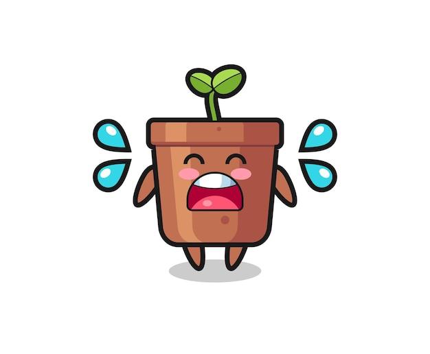 Illustration de dessin animé de pot de plante avec un geste qui pleure, design de style mignon pour t-shirt, autocollant, élément de logo