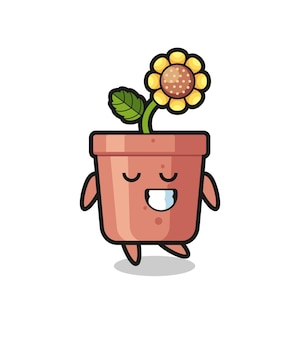Illustration de dessin animé de pot de tournesol avec une expression timide, design de style mignon pour t-shirt, autocollant, élément de logo