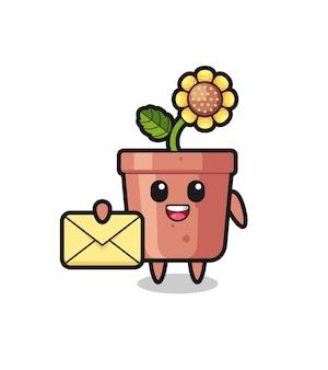 Illustration de dessin animé de pot de tournesol tenant une lettre jaune, design de style mignon pour t-shirt, autocollant, élément de logo