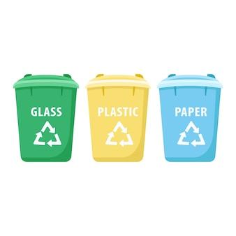 Illustration de dessin animé de poubelles de tri