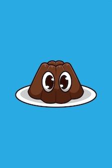 Illustration de dessin animé de pouding au chocolat
