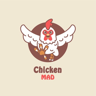 Illustration de dessin animé de poulet coq mascotte logo