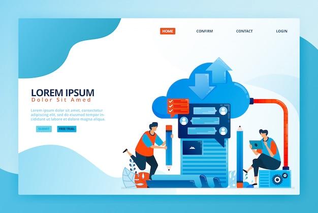 Illustration de dessin animé pour l'apprentissage en ligne basé sur le cloud computing. communication moderne et enseignement à distance. apprentissage numérique avec internet.