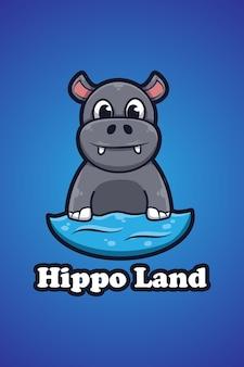 Illustration de dessin animé pour le logo hippopotame