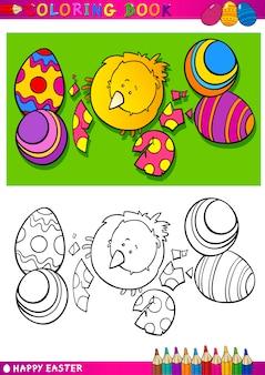 Illustration de dessin animé de poussin de pâques à colorier