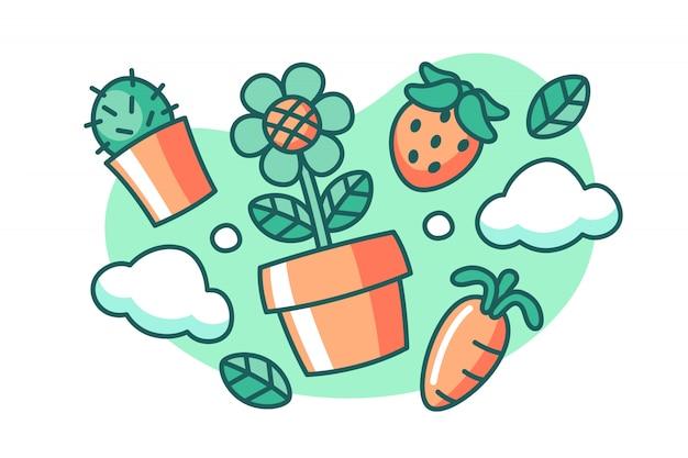 Illustration de dessin animé de printemps